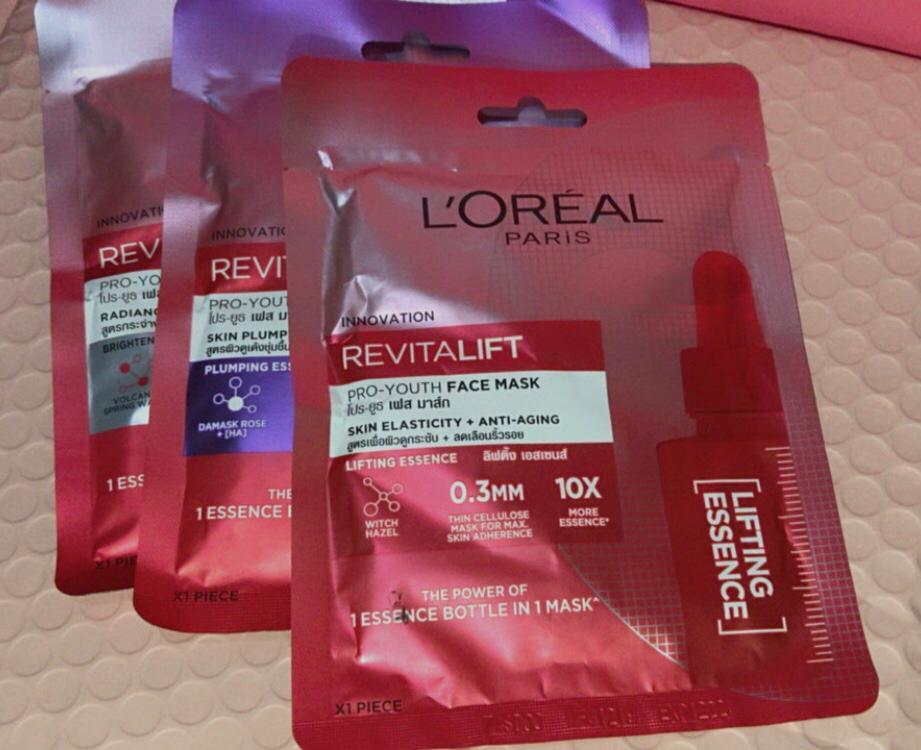 azariatika 3 varian LOreal Revitalift Pro Youth Face Mask - Review 3 Varian Masker Glowing LOreal Paris Revitalift Pro-Youth Face Mask, Essence-nya Melimpah!